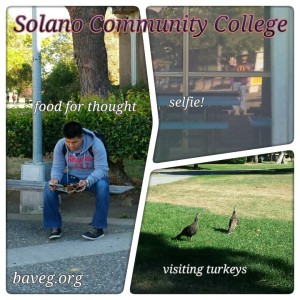 Thoughtful reader, outreach selfie, and the turkeys