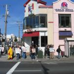 Neighbors and activists protest KFC cruelty at Geary and 6th.