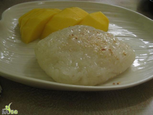 Jasmine sticky rice with mango -- while unimpressive to the eye, delightful to the taste buds