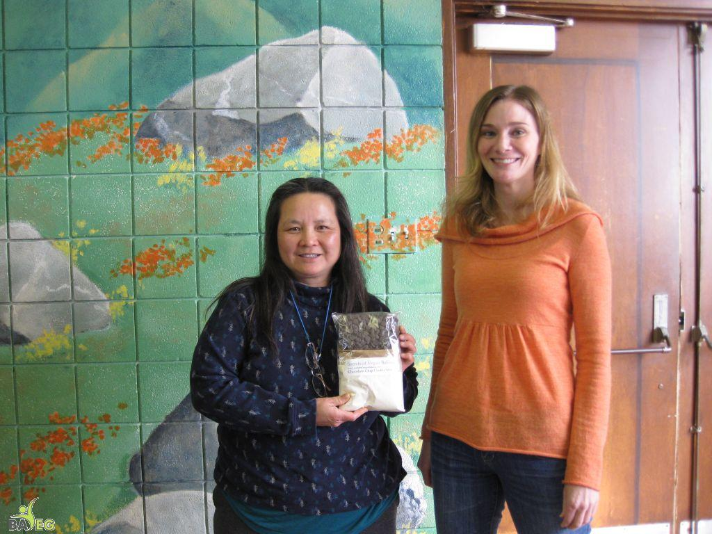 Irene (left) won the Secrets of Vegan Baking cookie mix giveaway from Christine (right)