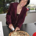 Rachel and her vegan pizza pie