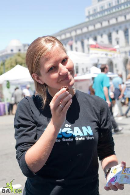 Michelle eating Donna's vegan brownies made for the volunteers