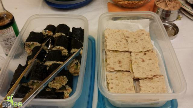 Sushi (left) and Hummus in Lavash (right)
