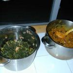 kale (l), fruit curry (r)