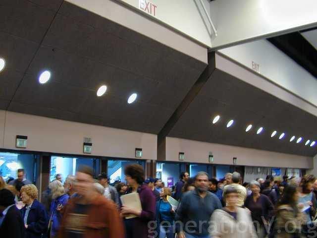 The crowds milling, waiting to get into the exhibit hall