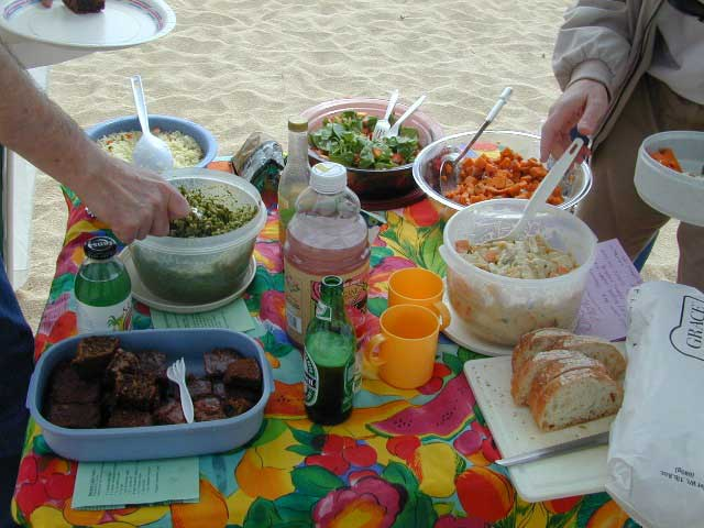 The food started to appear, as if by  magic!  We had pesto pasta, banana cake, sweet potato salad, summer salad with spinach &