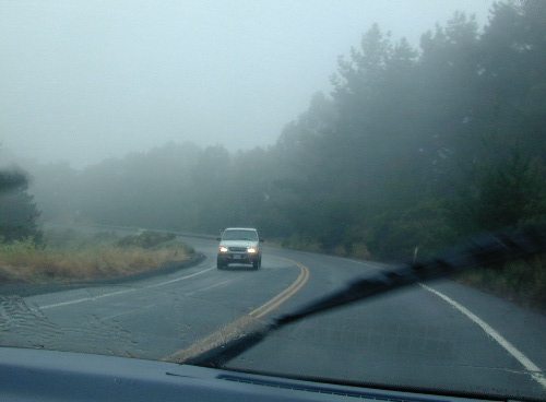 When that day arrived, however, it was a typical summer day on the coast:  foggy.  Some of us traveled, caravan style, from a me