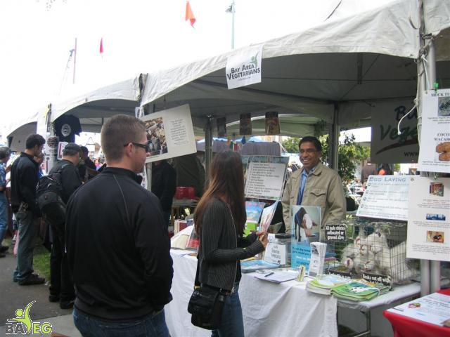 Ravi answers questions at the BAVeg booth