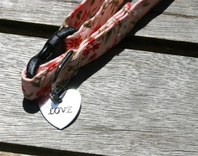 "Kitty Collars - ""Love"" Charm closeup"