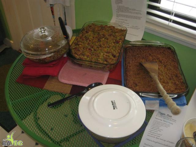 Cornbread & Pecan stuffing (left), Veggie Pate (right)
